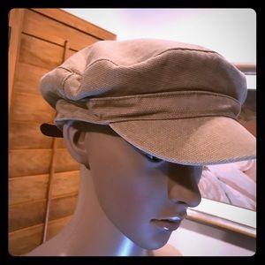 Zara beige cap with brown faux leather trim